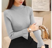 2019 New High Quality Fall Turtleneck Sweaters Women Solid Color Long Sleeve Sweaters Winter Knitted Casual Pullovers Top casual pure color high low knitted top for women