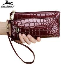 women's wallet Patent Leather Fallow Long Ladies Zipper Wallets carteira feminina Clutch Bag Design portable Crocodile Purses elegant women s clutch bag with patent leather and crocodile print design