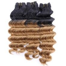 Czarny do szarego Ombre syntetyczne przedłużanie włosów 100 Gram one piece głęboka fala wiązki 3 sztuk/partia splot włosów dla kobiet