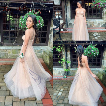 Tulle Sweetheart Long Prom Dress Zipper Sweep Train Sleeveless Simple Evening Party Gown Peach фото