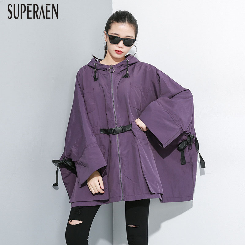 SuperAen 2019 Autumn New Solid Color Europe Hooded Windbreaker Women Loose Pluz Size Trench Coat Wild Women Clothing
