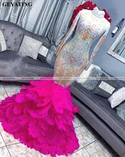 African Hot Pink Mermaid suknie balowe z piórami z długim rękawem czarna dziewczyna Plus rozmiar sukienka Graduation kobiety formalne suknie wieczorowe