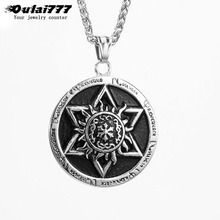 oulai777 men necklaces & pendants stainless steel mens accessories hip hop six-star pendant necklace chain with