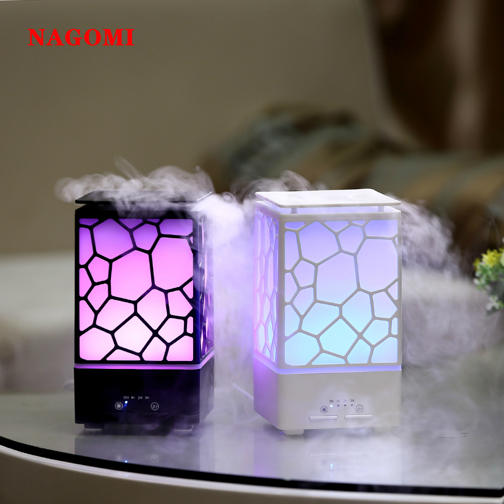 Air Humidifier Mist Maker 200ML Aroma Essential Oil Diffuser Water Cube Humidifier Ultrasonic Colorful Night Light Office Home