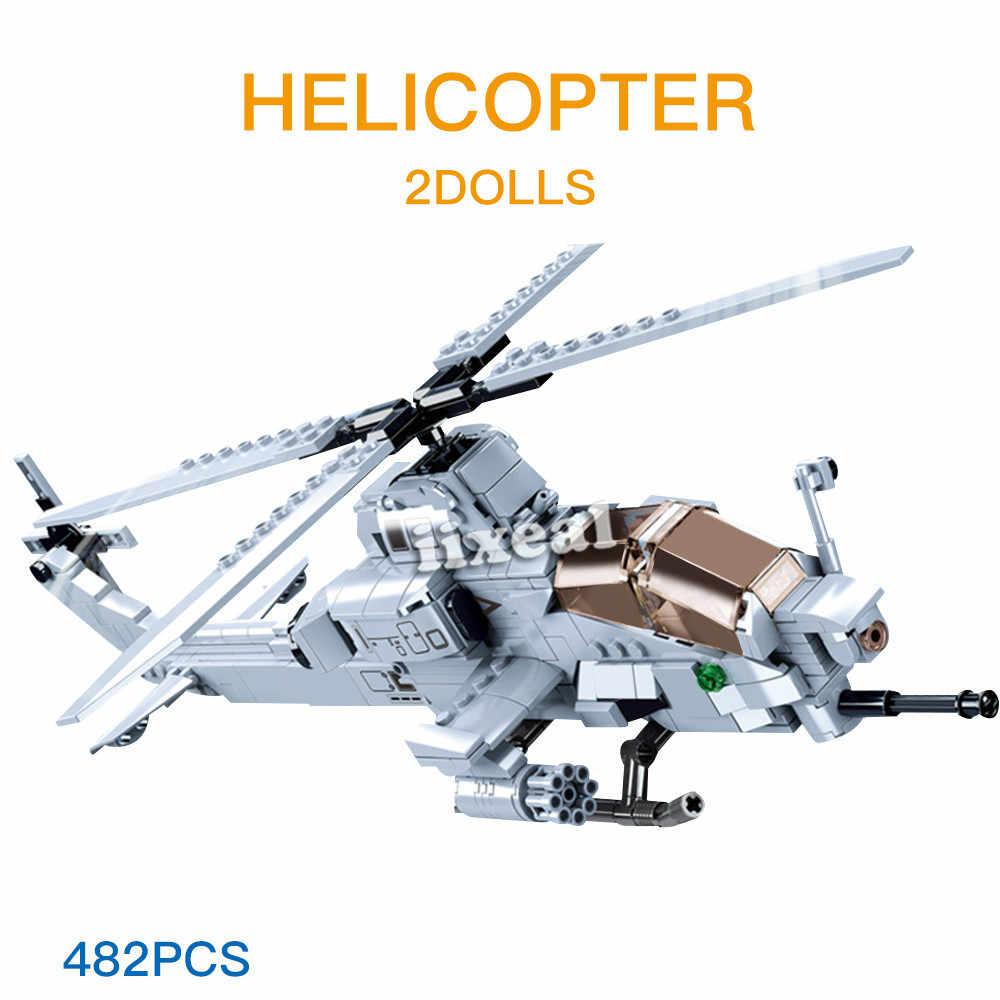 Costruttore Caccia Militare Veicolo Blocchi di Costruzione della Città di WW2 Elicottero Mattoni Aeroporto Aereo Giocattoli Educativi Hobby Sluban