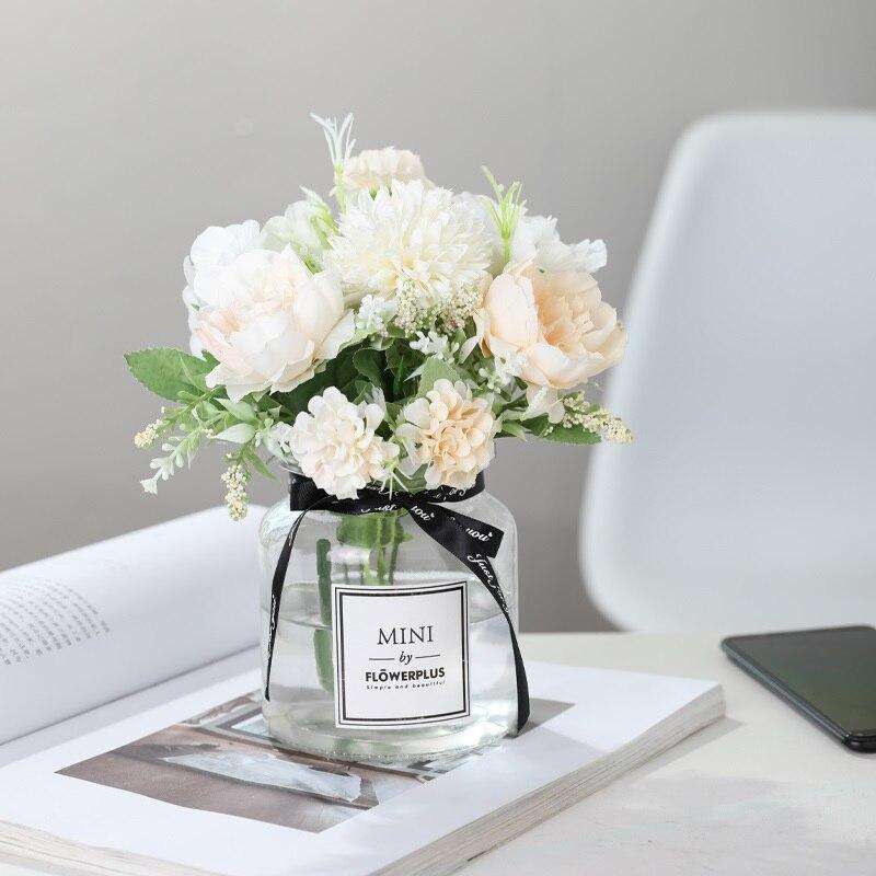 Yumai 7 Heads Hydrangea Silk Artificial Flowers Bouquet For Wedding Centerpieces Decor 4