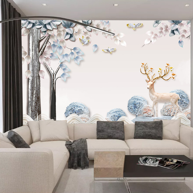 8D Elk Woods Northern European-Style Ins TV Backdrop Modern Minimalist Environmentally Friendly Wallpaper Mural Seamless Whole P