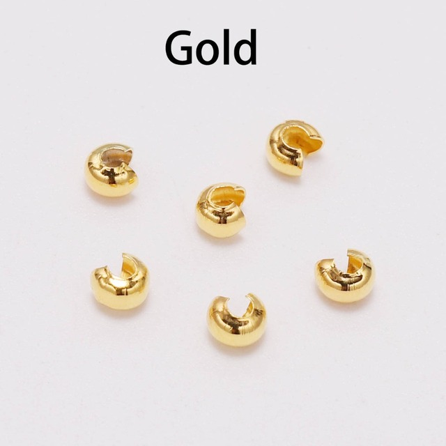 100pcs/lot Copper Round Covers Crimp End Beads Dia 3 4 5 mm Stopper Spacer Beads For DIY Jewelry Making Findings Supplies
