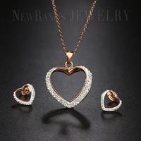 Love Heart Stainless Steel Jewelry Set Pave CZ Necklace Earrings Set Iced Out Link Chain Necklace for Women Jewelry NESS001