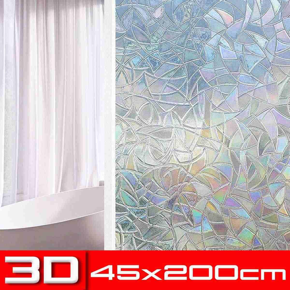 جديد 45x200 سنتيمتر 3D لا الغراء ساكنة الزخرفية نافذة قوس قزح أفلام الزجاج الملون غير لاصقة فيلم مكافحة الأشعة فوق البنفسجية لاصق زجاج