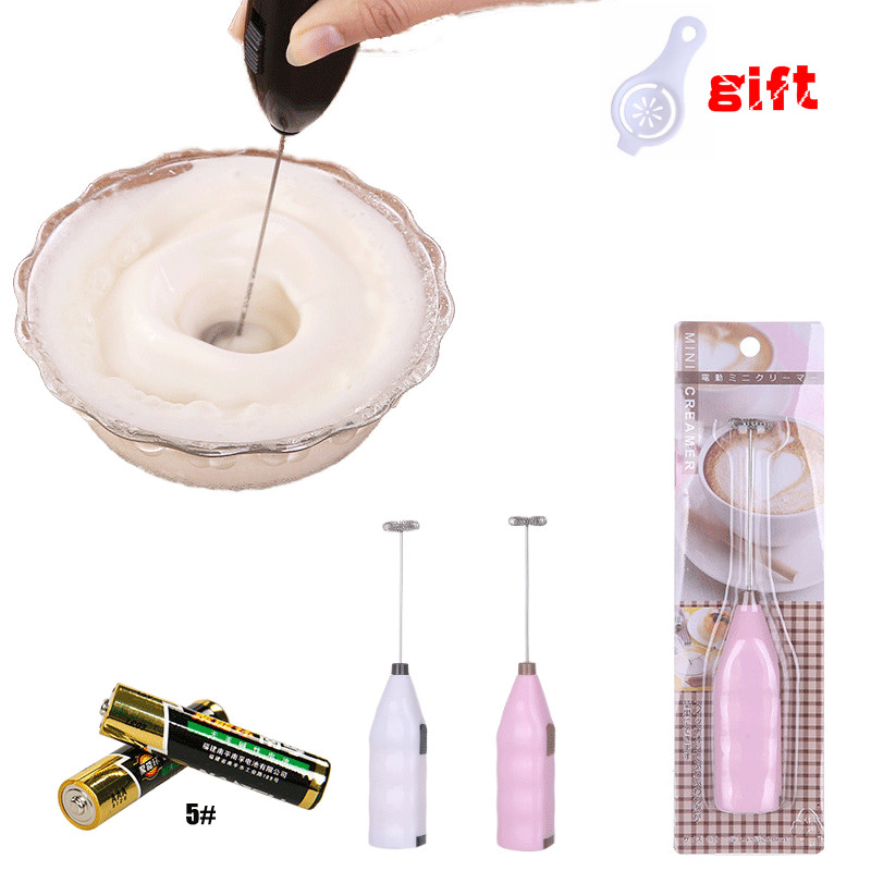 Household Portable Electric Egg Milk Beater Creative #5 Battery Stainless Steel Coffee Milk Tea Blender