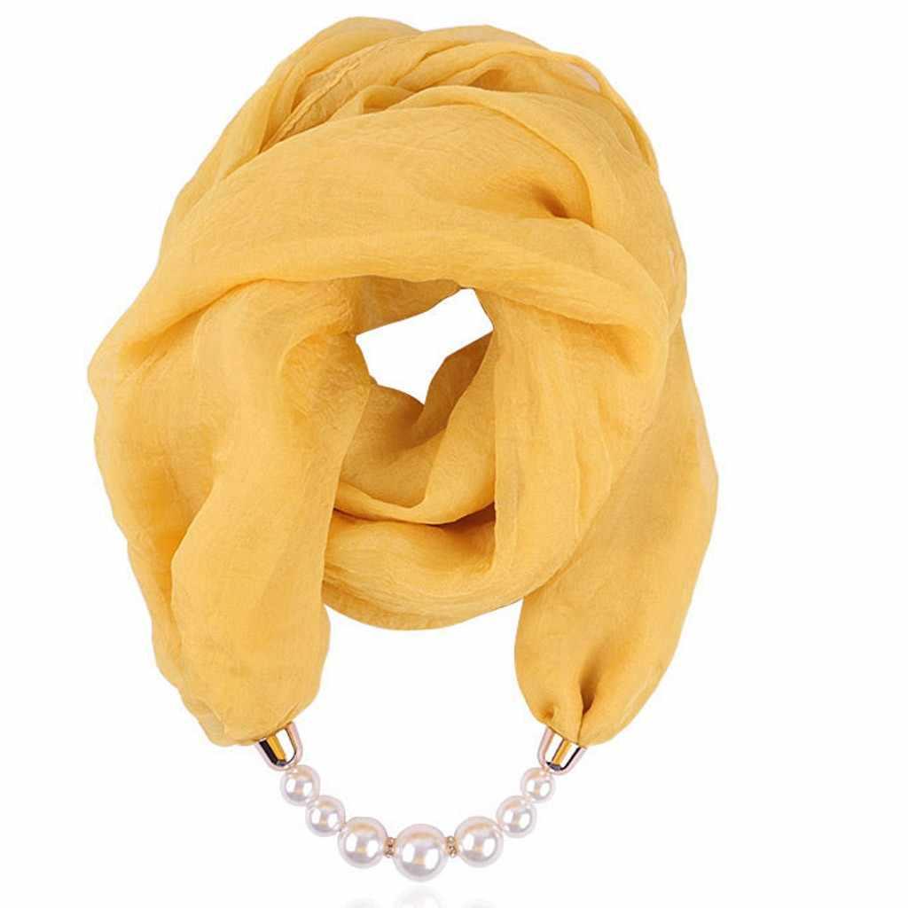 ผ้าพันคอบนคอชีฟองผู้หญิงสร้อยคอ Bib สร้อยคอไข่มุกจี้ผ้าพันคอผ้าพันคอผ้าพันคอผู้หญิงฤดูใบไม้ร่วง 2020 ใหม่