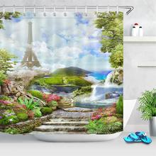 European Natural Landscape Shower Curtains Bathroom Curtain Paris Tower Scenery Waterproof Washable Bath Fabric Durable