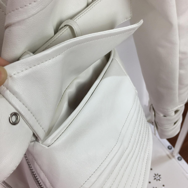Mulheres primavera outono branco do falso jaqueta