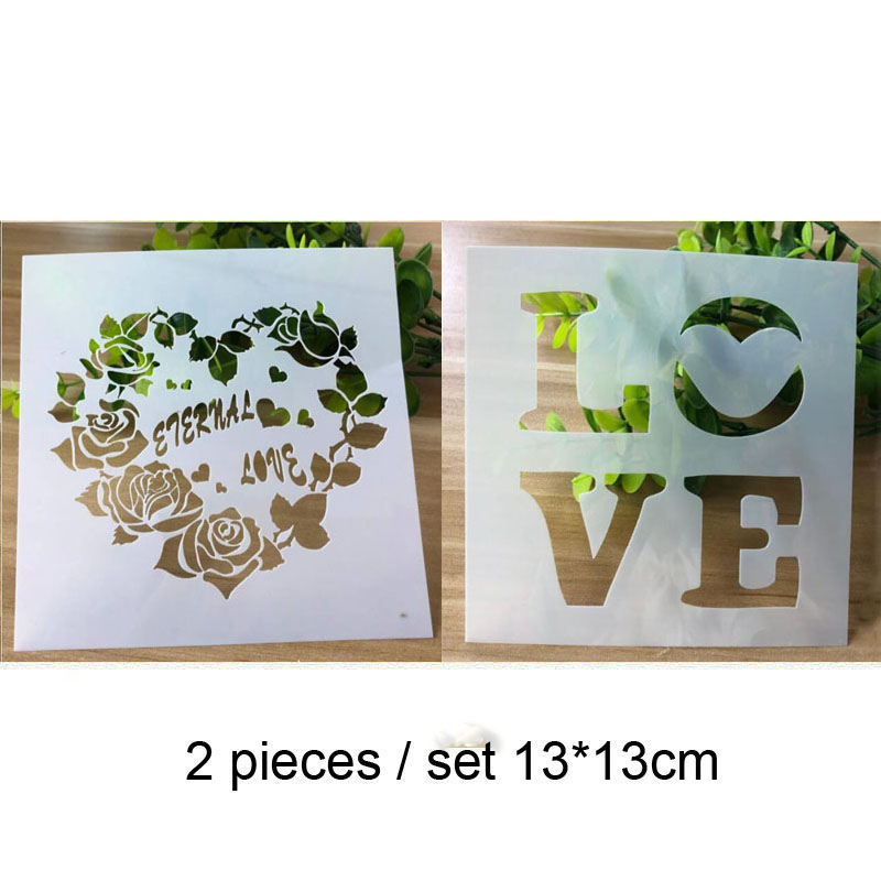 2pc Stencils Bullet Journal Love Heart Painting Template For Wall Painting Scrapbooking Album Decor Embossing Template Reusable