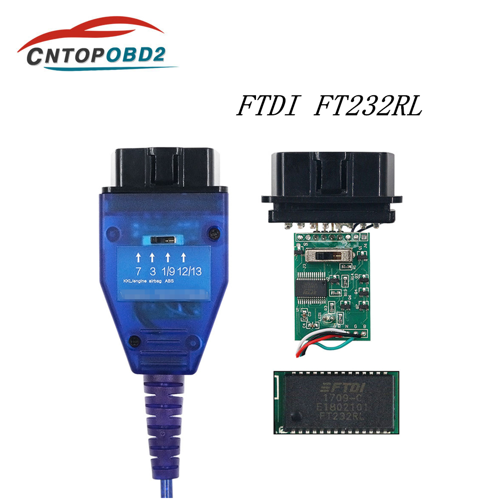 Latest OBD2 USB Auto Car Diagnostic Cable FTDI FT232RL Chip For VAG For Fiat KKL Car Ecu Scanner Tool 4 Way Switch USB Interface