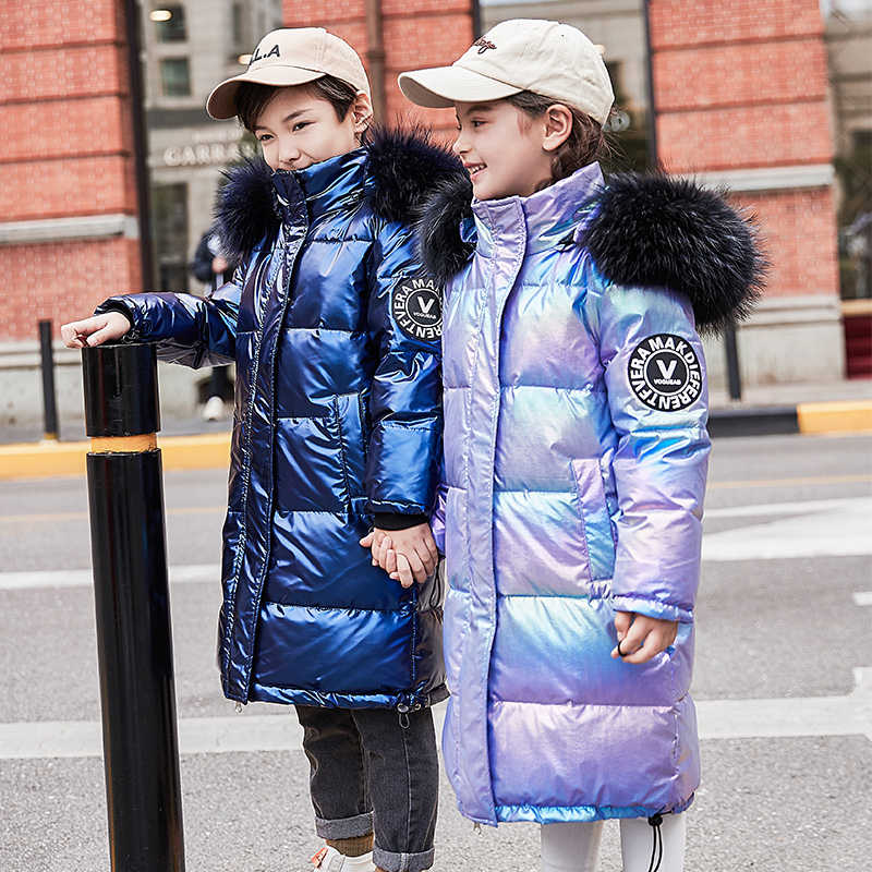 2019 new Children Coat Glossy Waterproof Winter warm Down Jacket For Girl clothing 7-16 Yrs Kids parka real fur clothes snowsuit
