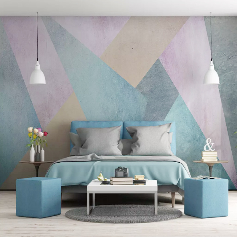Scandinavian Minimalist Cool Abstract Geometry Square TV Backdrop Wallpaper Cool Art Wall Cloth Large Mural Living Room