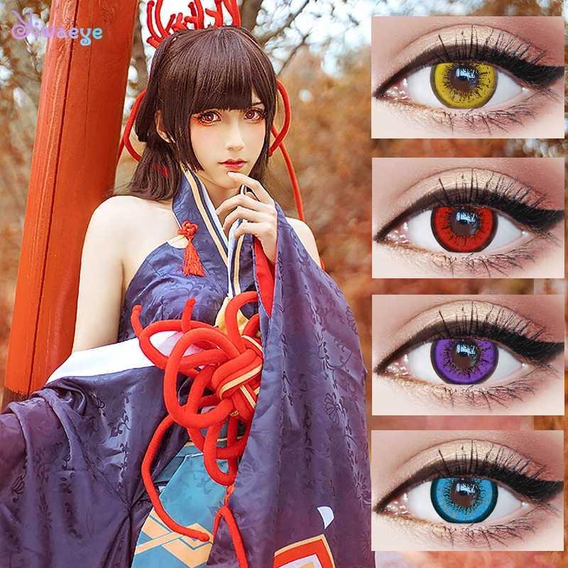 2 sztuk/1 para Cosplay kolorowe soczewki kontaktowe Halloween kosmetyczne soczewki kontaktowe piękne uczeń kolor oczu nosić
