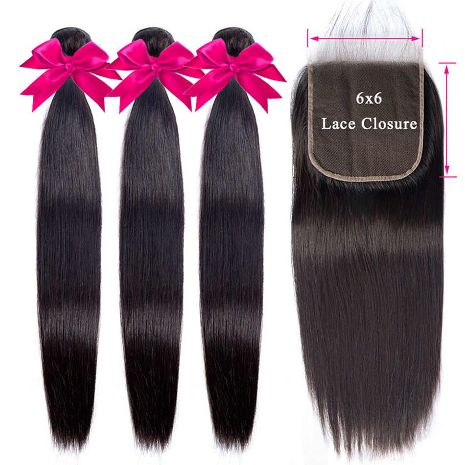 Virgo Straight Hair Bundles With Closure Peruvian Hair 3 Bundle And / With 6x6 Lace Closure Remy Human Hair Bundles With Closure