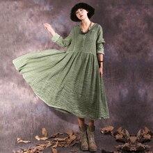 2019 Vintage Green Dress Elegant Pleated Dresses Women Long Sleeve Casual Ladies Large Plus Size V Neck Cotton Clothes Autumn