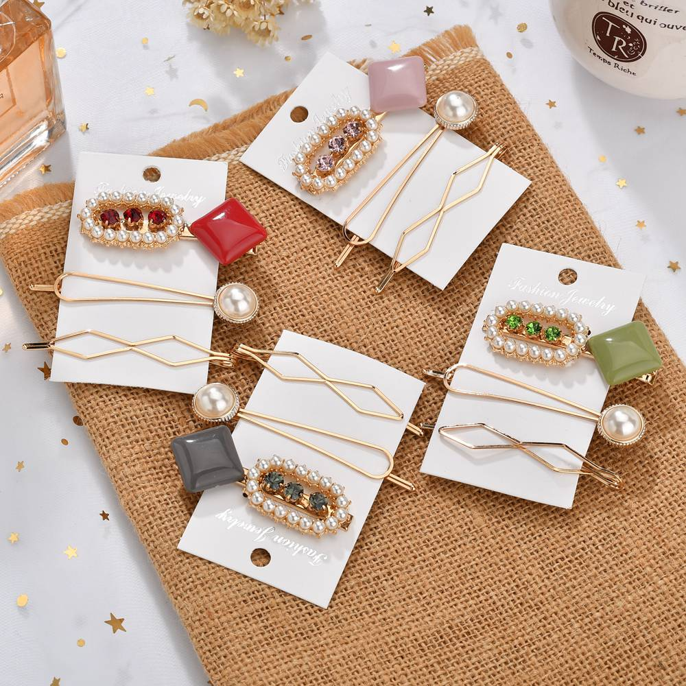 Gariton 3Pcs Set Korea Fashion Metal Hairpins Candy Colors Rhinestone Hair Clip Hairstyle Design Styling Accessories