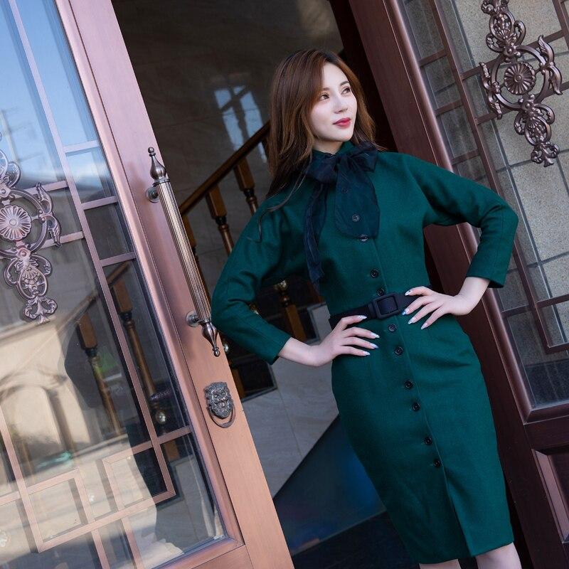 2018 nouveau automne hiver élégance Slim Hepburn femme laine ceinture robe dame vert haute qualité Vintage robe bow robe-in Robes from Mode Femme et Accessoires on AliExpress - 11.11_Double 11_Singles' Day 1