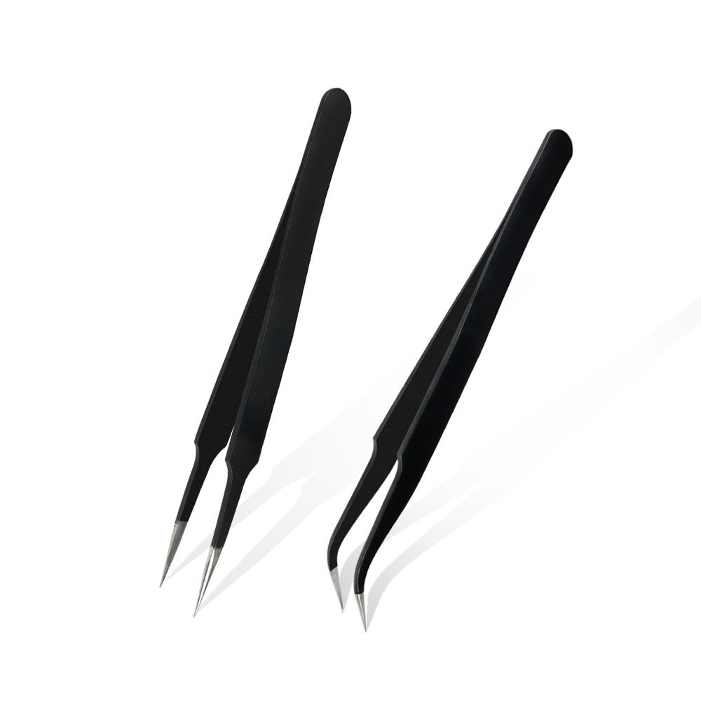 2pcs Tweezers Tools Anti-static Curved Straight Tip Forceps Precision Soldering Tweezers Set Electronic ESD Tweezers Tools
