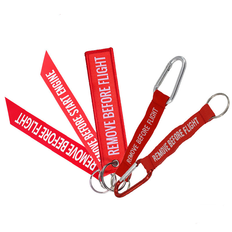Fashion Jewelry Car Keychain For Motorcycles OEM Key Chains Red Embroidery Key Fobs Aviation Gifts Key Chain Tag Car Key Ring