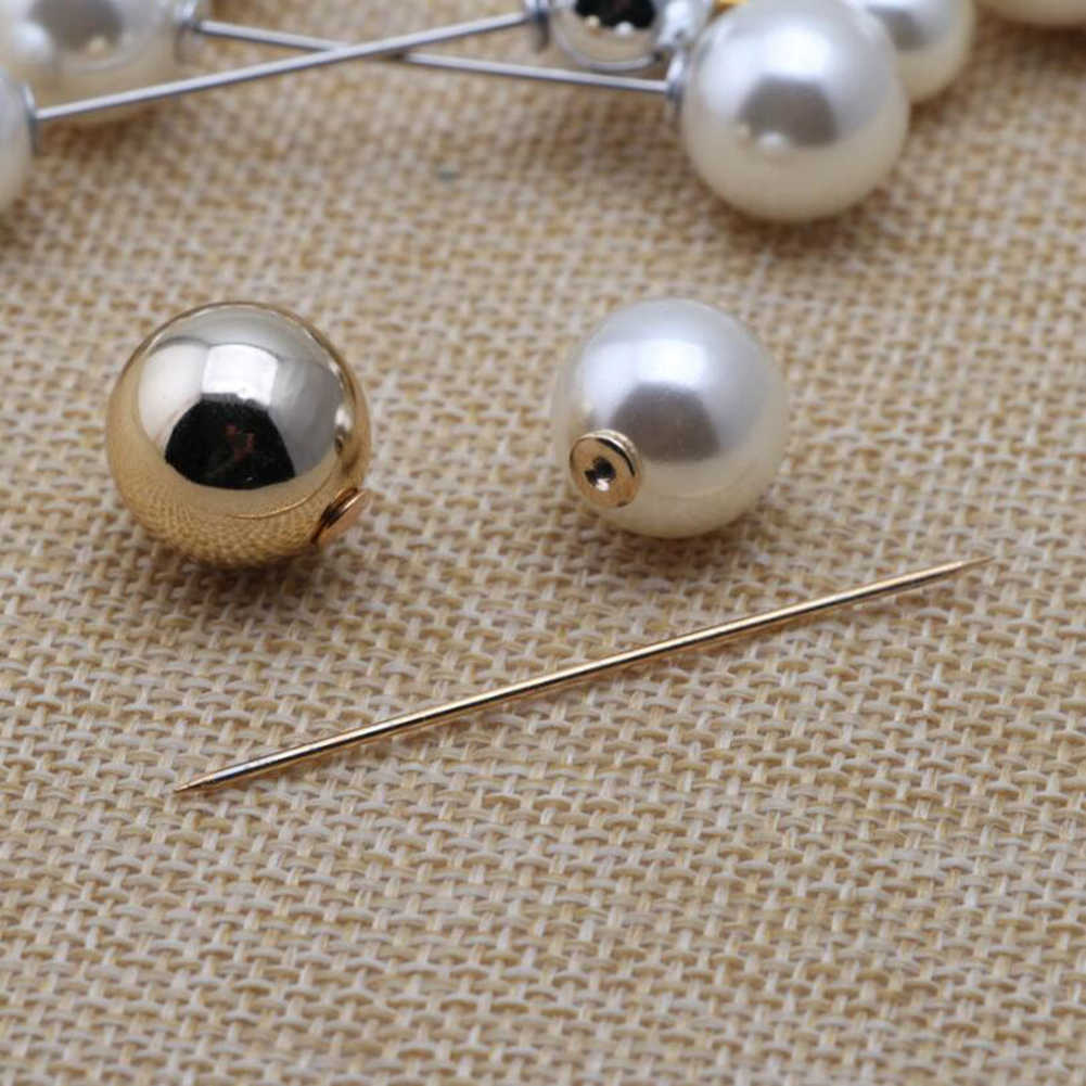 2019 คุณภาพสูง VINTAGE GOLD เข็มกลัด Pins คู่หัวจำลองไข่มุกขนาดใหญ่เข็มกลัดสำหรับงานแต่งงานของผู้หญิงเครื่องประดับอุปกรณ์เสริม