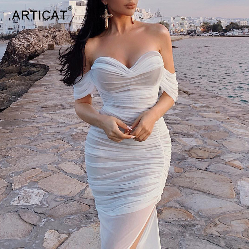 Articat Double Layer White Mesh Sexy Maxi Dress Women Off Shoulder Strapess Bandage Dress Ladies Bodycone Club Party Vestidos