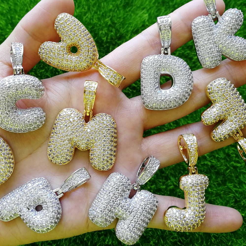 Латунь CZ 26 ожерелье с буквами Веревка Цепи буквы-подвески для мужчин и женщин хип хоп ювелирные изделия