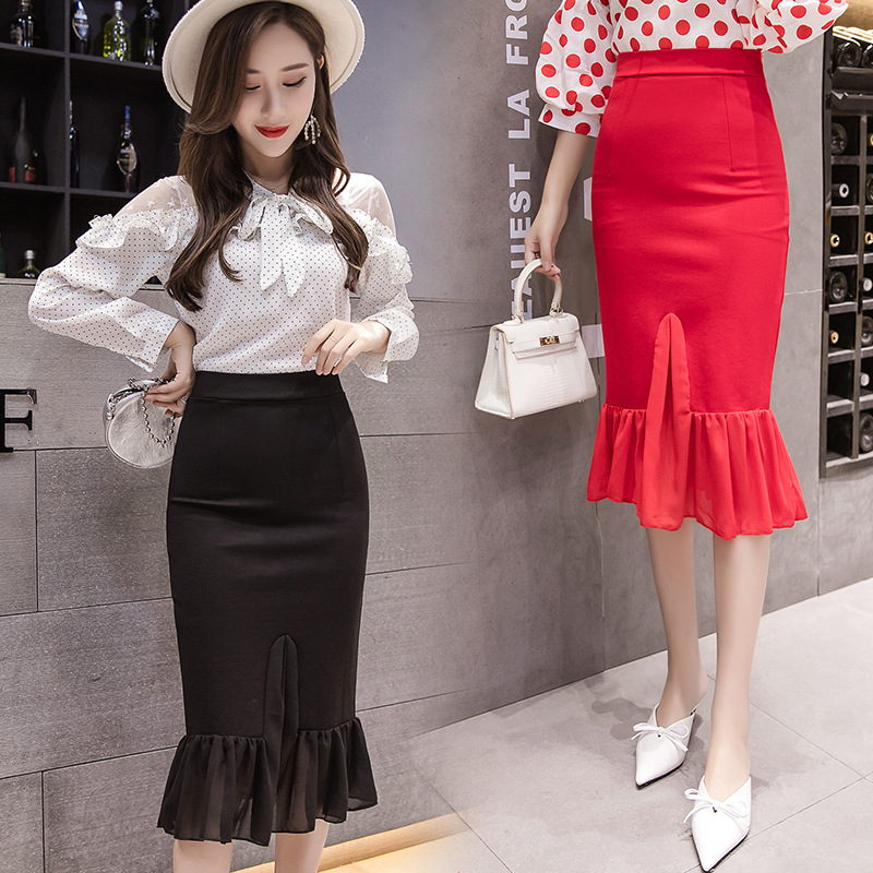 Photo Shoot 1680 High-waisted Elasticity Skirt Chiffon Joint Skirt Slim Fit Slimming New Style Marriage Festive Dress Women's