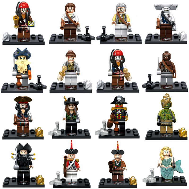 Pirates Of The Caribbean Figures Jack Sparrow Henry Elizabeth Model Building BlockS DIY Toys For Children Compatible Legoinglys