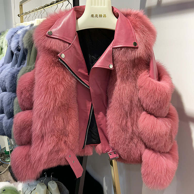 Maylofuer Real Fox Fur Coat With Genuine Sheepskin Leather Jacket Long Sleeves 100% Natural Fox Fur Coats For Women Hot Sale