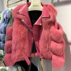 Maylofuer abrigo de piel auténtica de zorro con piel de oveja genuina chaqueta de cuero de manga larga 100% abrigos de piel de zorro Natural para mujer gran oferta