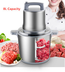 8L Commercial Meat Grinder 1200W High-power Minced Meat Blender Home Electric Stainless Steel Pepper Garlic Crusher Device