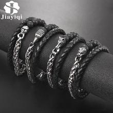 Jiayiqi Unique Leather Bracelet Men Eagle Wolf Lion Skull Charm Stainless Steel Chain Bead Magnetic Clasp Bangle Vintage Jewelry