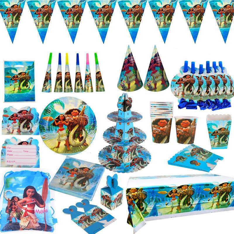 Моана тема мультфильм вечерние столовые приборы набор чашка соломенная тарелка салфетки конфетная коробка баннер флаги детский день рожде...