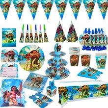 Moana tema dos desenhos animados festa conjunto de utensílios de mesa copo placa de palha guardanapos caixa de doces bandeiras da bandeira da festa de aniversário do miúdo decorações suprimentos