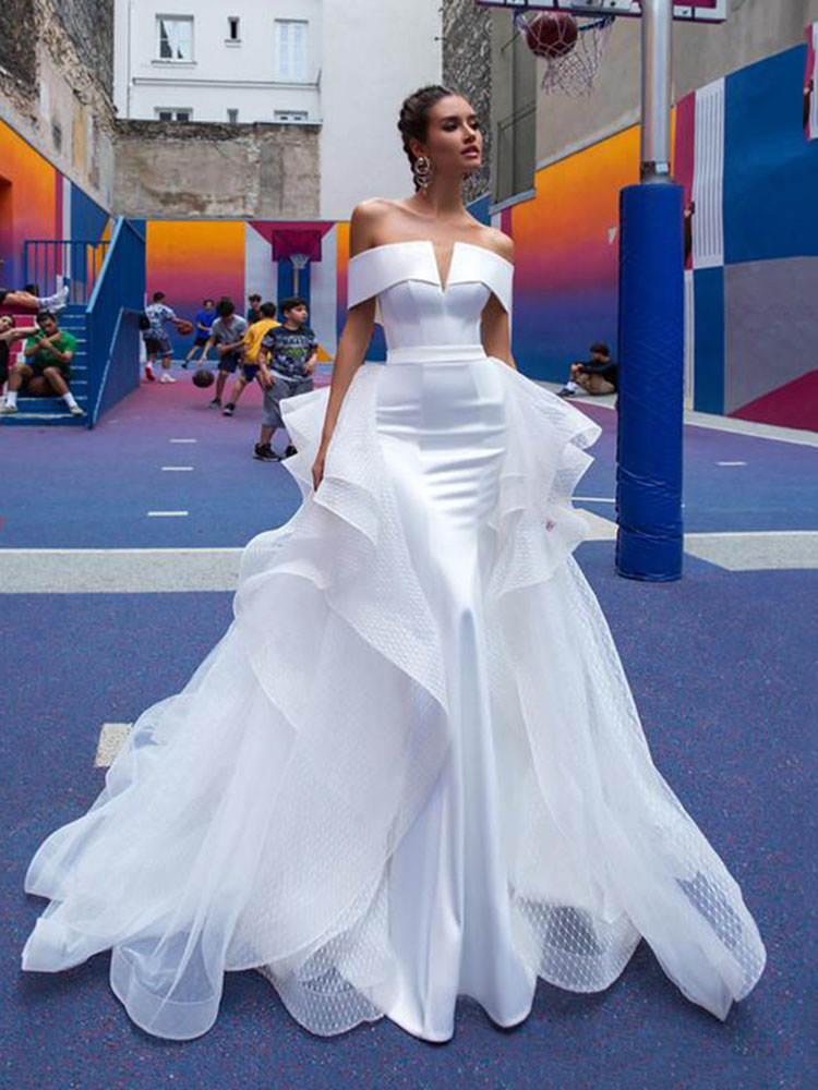 Wedding-Dresses Detachable Bridal-Gowns Satin Mermaid Skirt-Off-The-Shoulder White No