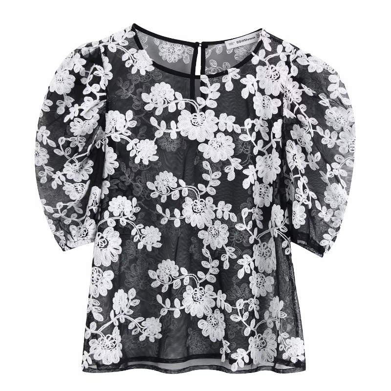 New Women's Temperament Flower Embroidery Mesh Shirt Blouses Women Puff Sleeve Transparent Casual Roupas Blusas Chic Tops LS3971