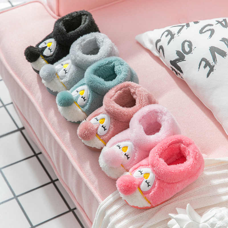 Winter Penguin Slippers for Children Cartoon Cute Animals Kids House Slippers Fur Warm Home Toddler Boys Girls Slipper Shoes