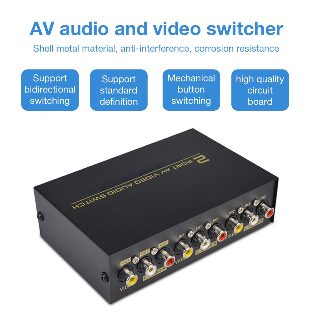 Newest AV Switch Box 2 In 1 Out AV Audio Video Signal Composite For HDTV LCD DVD 3 RCA Switcher 2 To 1 Selector Not Splitte