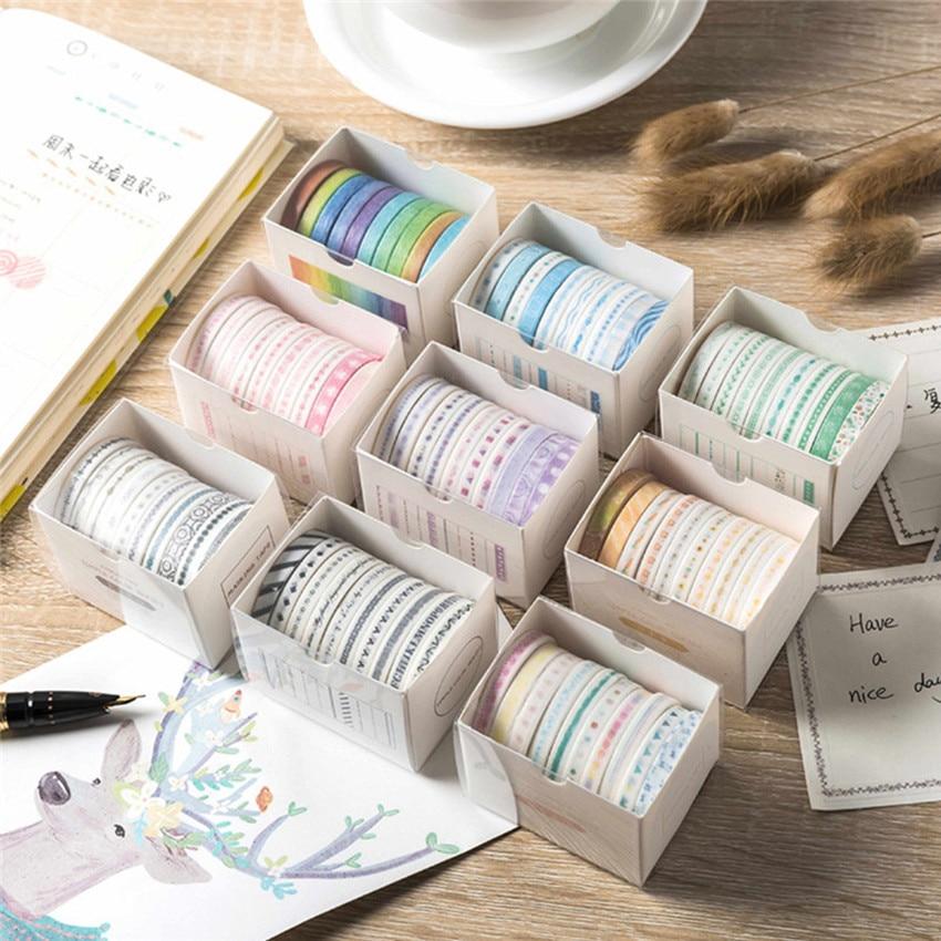 10pcs/pk Colorful Paper Washi Tape Rainbow Adhesive Tape DIY Scrapbooking Sticker Label Masking Tape Stationery Office Supplies