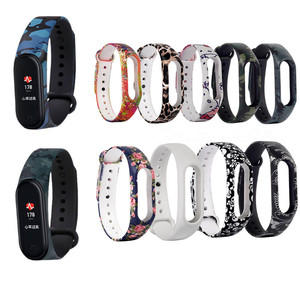 Painted pattern for Xiaomi Mi Band 5 4 3 Strap Replacement Bracelet for mi band 3 4 5 Universal silicone wrist Strap