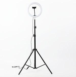 Image 1 - 사진 LED 링 램프 Dimmable Selfie 링 라이트 삼각대 전화 홀더 유튜브 비디오 촬영 라이브 메이크업 웨딩