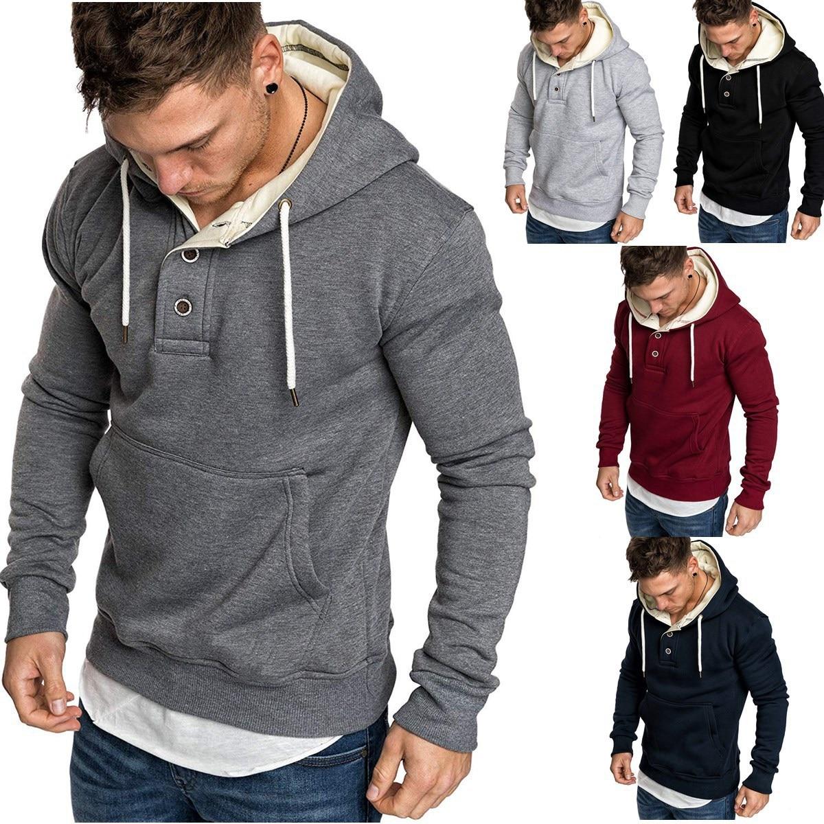 Новый флисовый воротник, модная в Европе и однотонная мужская флисовая одежда с капюшоном для отдыха