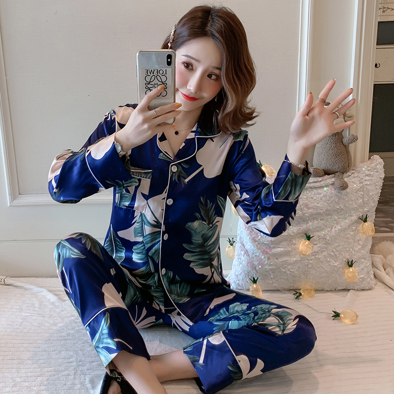 Liang Xing-Autumn Double Zhang Fan Ling Viscose Japanese Banana Leaf Printed Pajamas Suit M -Xxl