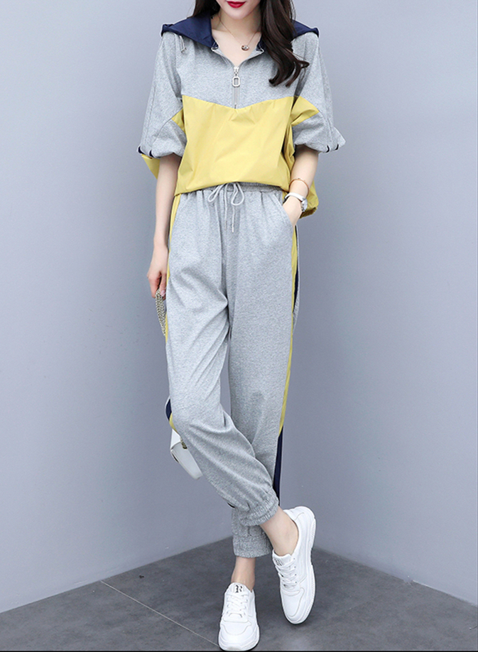 Grey Sport Casual Two Piece Sets Outfits Tracksuits Women Plus Size Hooded Tops And Pants Suits Spring Autumn Fashion Loose Sets 28